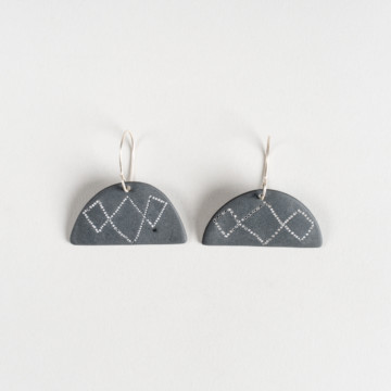 Image for Black Porcelain Earrings | Small