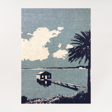 Image for Linen Tea Towel | Boathouse on the Swan