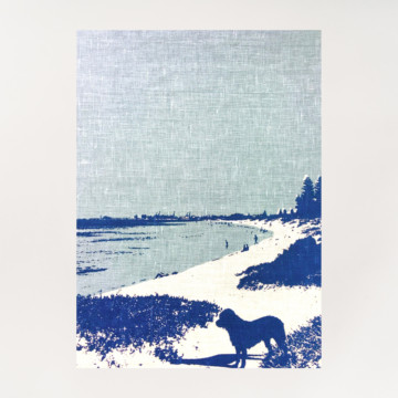 Image for Linen Tea Towel | Dog at South Beach, South Fremantle