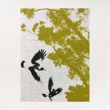 Image for Linen Tea Towel | Magpies in Flight