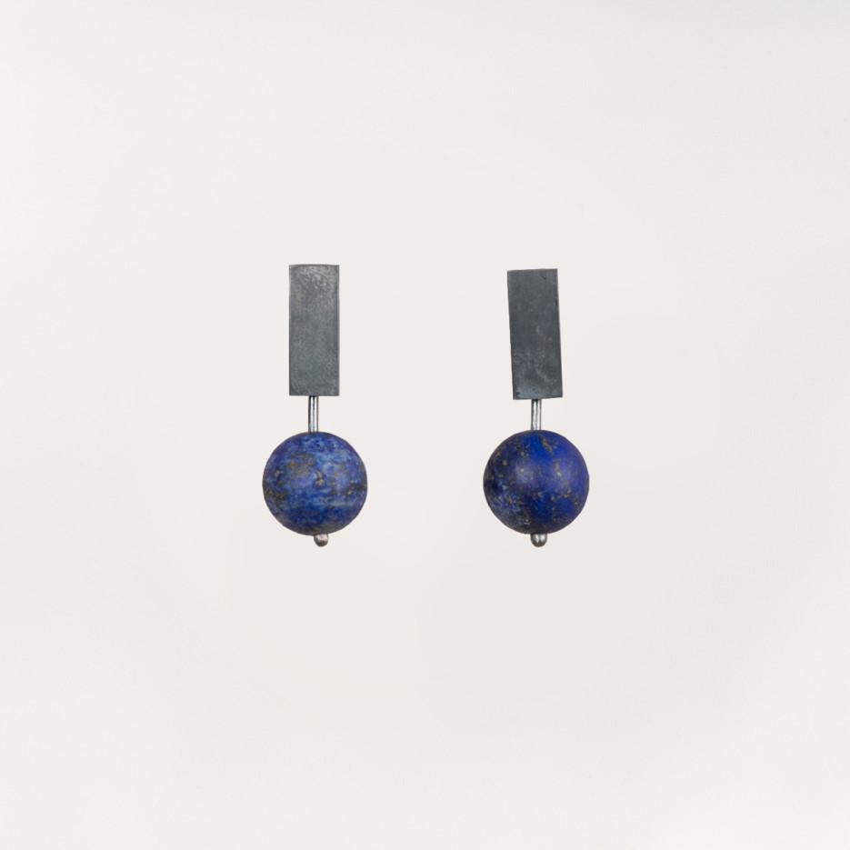 Image of Miro Studs   Sterling Silver & Lapis Lazuli