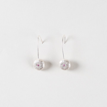 Image for Mini Sea Urchin Earrings | Set With Pink Sapphires