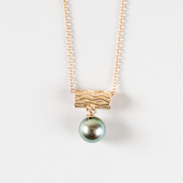 Image for Tahitian Round Black Pearl Pendant with raised wave pattern and solid gold tubular chain loop