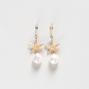 Image for Star fish and pearl earrings