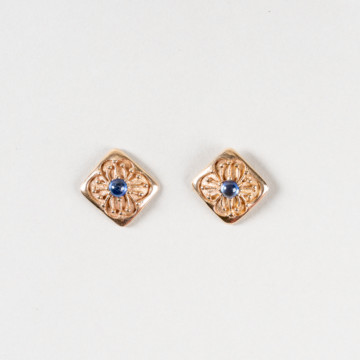 Image for Diamond Shaped Flower Stud Earrings with Sapphires