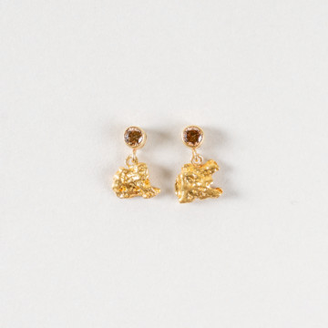 Image for Diamond & Raw Gold Nugget Stud Earrings