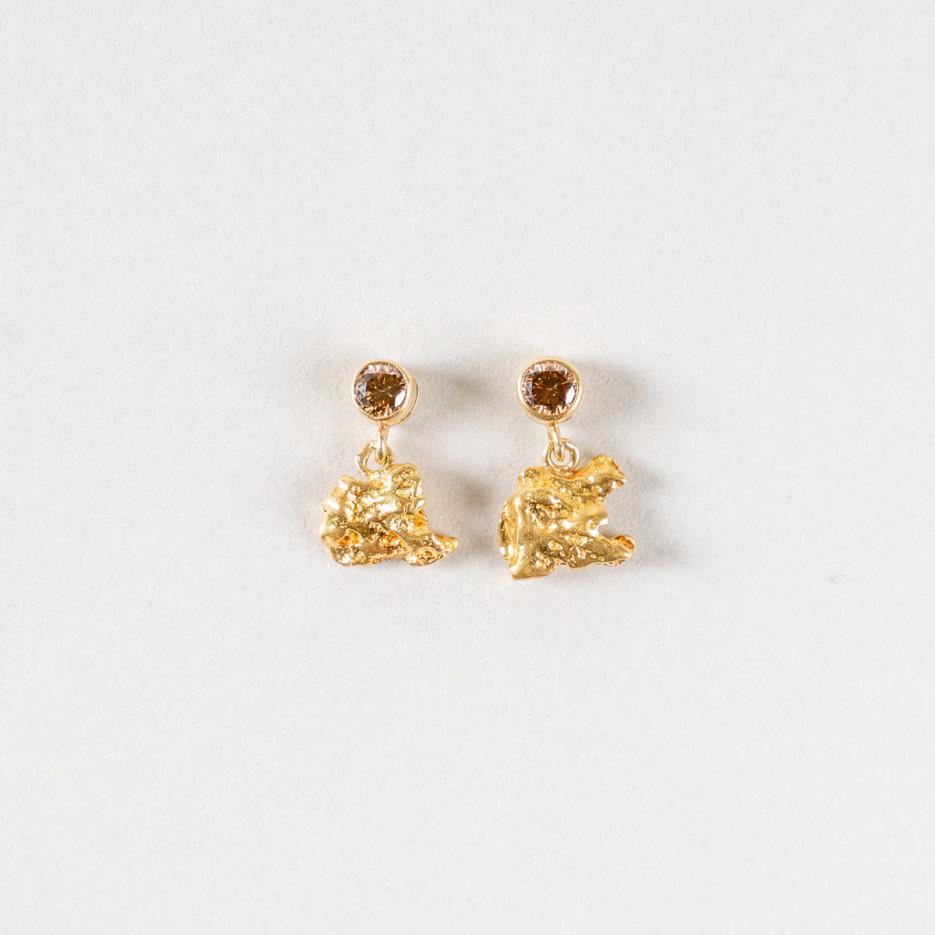 Image of Diamond & Raw Gold Nugget Stud Earrings