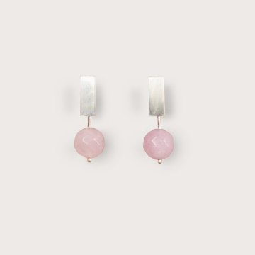 Image for Miro Studs | Sterling Silver & Rose Quartz