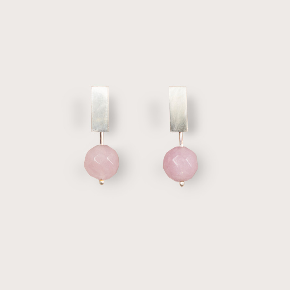 Image of Miro Studs | Sterling Silver & Rose Quartz
