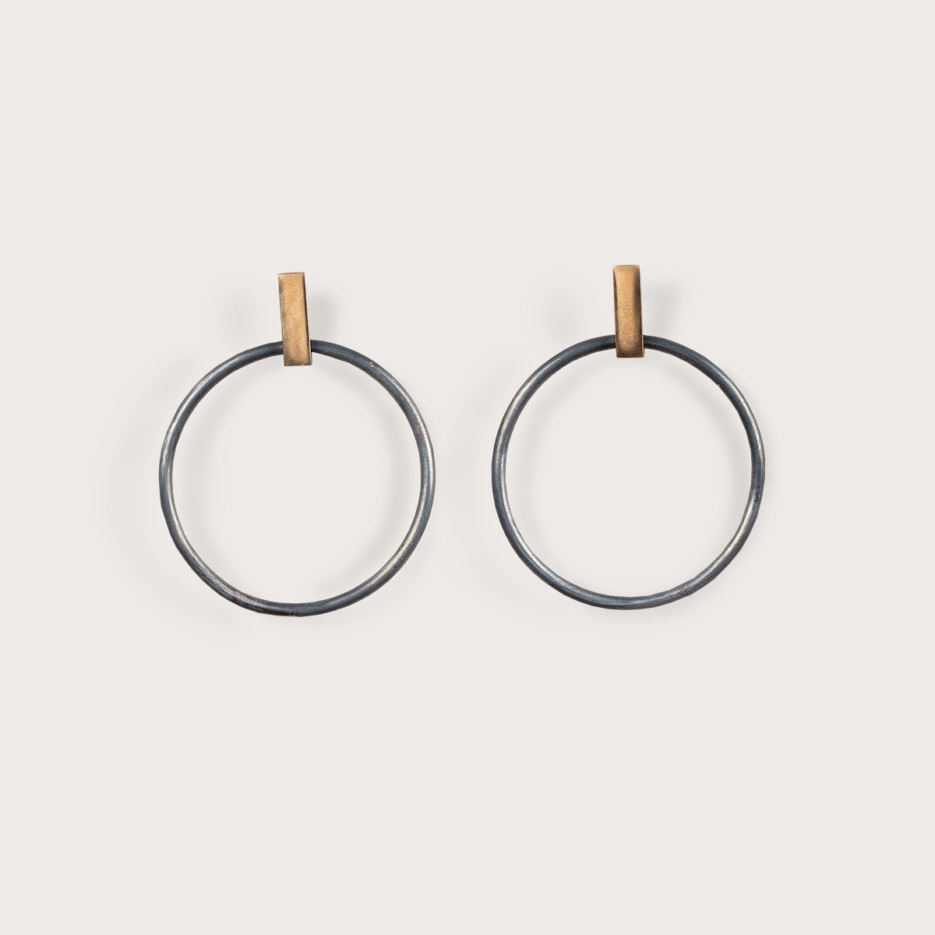 Image of Olympiad Hoops Large | 9ct Gold & Sterling Silver