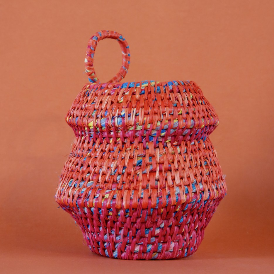 Image of Hand Dyed Woven Vessel - Red