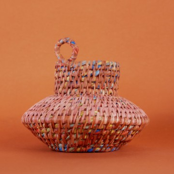Image for Hand Dyed Woven Vessel - Pink   Russet