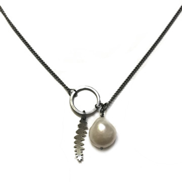 Image for Sterling Silver Circle Banksia Necklace with Fresh Water Pearl