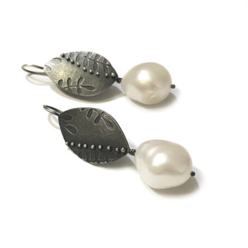 Image for Oxidised Sterling Silver Embossed Earrings with Fresh Water Baroque Pearls