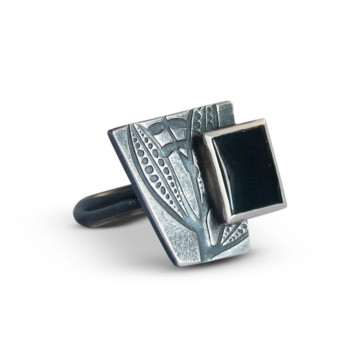 Image for Embossed Sterling Silver Geometric Ring with Onyx