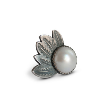Image for Oxidised Sterling Silver Ring With Mabe Pearl